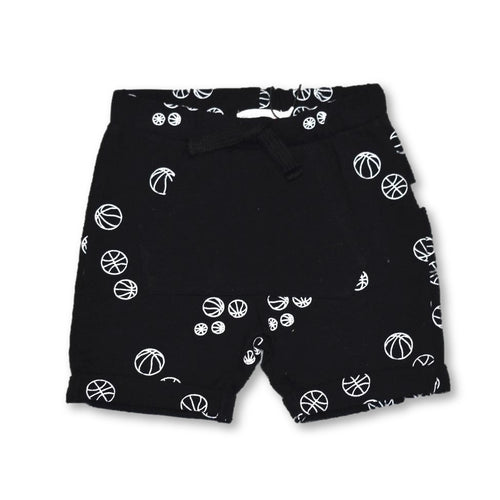 Miles Baby - Black Short with Basketballs