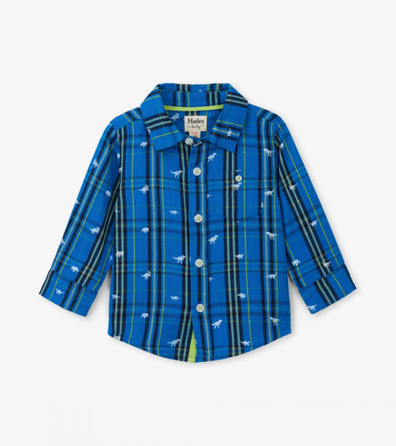 Hatley Tiny T Rex Button Down Shirt 12-18m