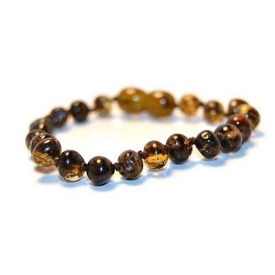 Amber Teething Anklet - Olive