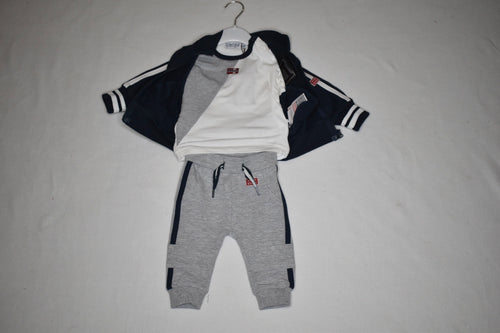 Dirkje Navy Hooded Zip Up Tee & Pant Set 3m