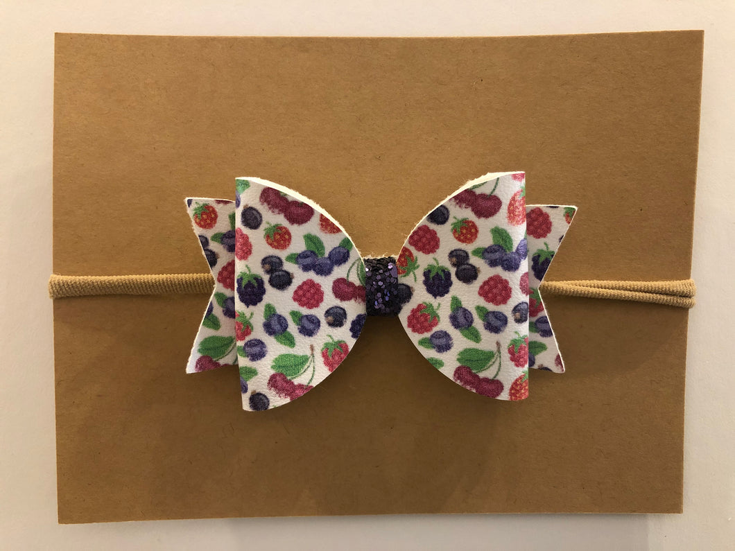 Large Bow Headband- Berries