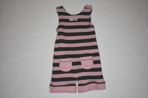 L'oved Baby Sleeveless Romper Pink/Grey - 3-6m