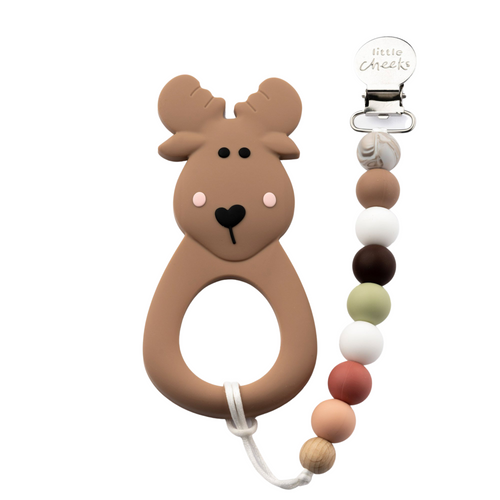 Little Cheeks Moose Clip- Brown