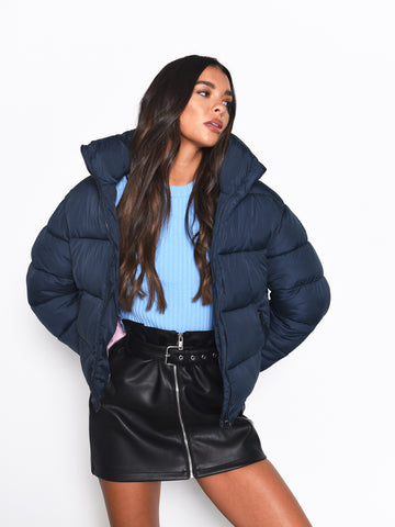 Navy Puffer Jacket with Pink Lining