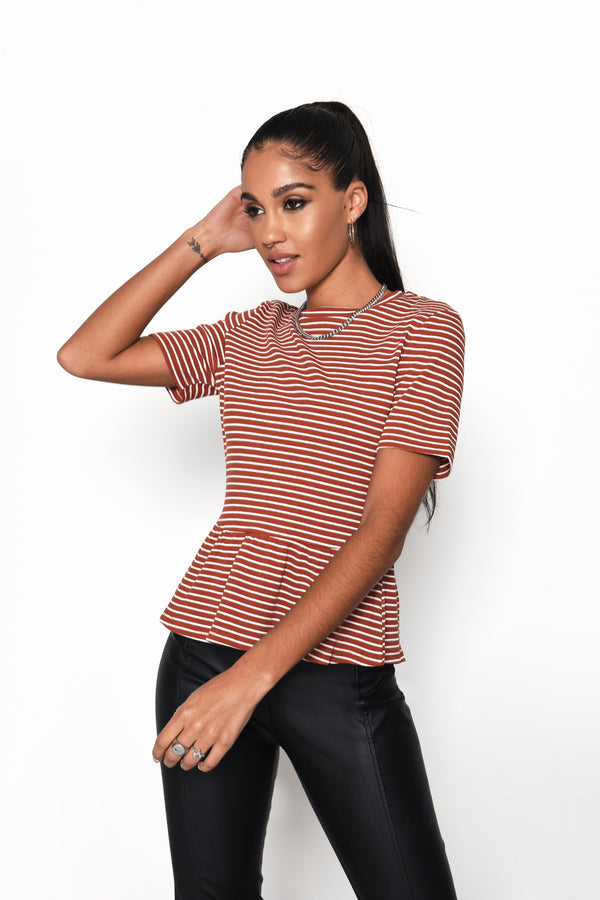 Rust White Ribbed Peplum T-shirt