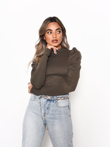 Forest Puff Sleeve Jumper
