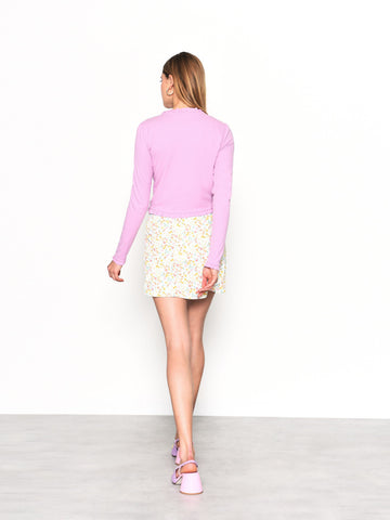 Orchid Long Sleeve Ruffle Detail Ribbed Top