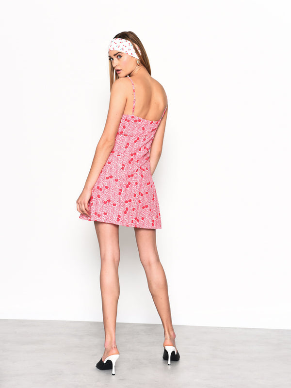 Pink Cherry Print Spaghetti Strap Mini Dress