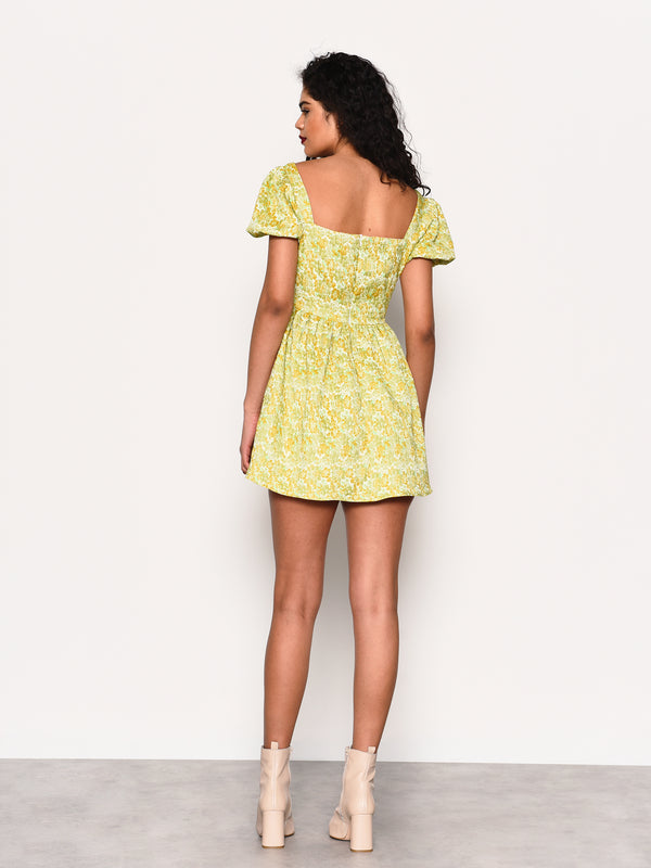 Sage Gold Brocade Puff Short Sleeve Dress