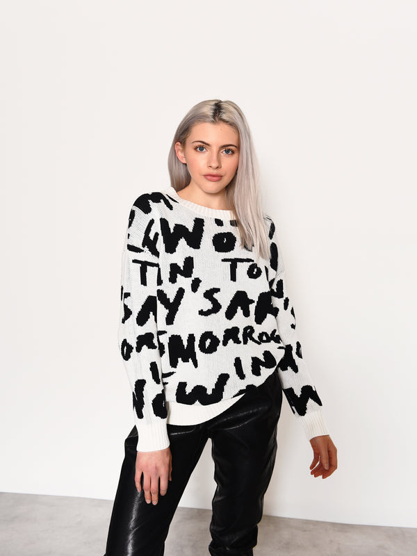 Text Intarsia Long Sleeve Jumper