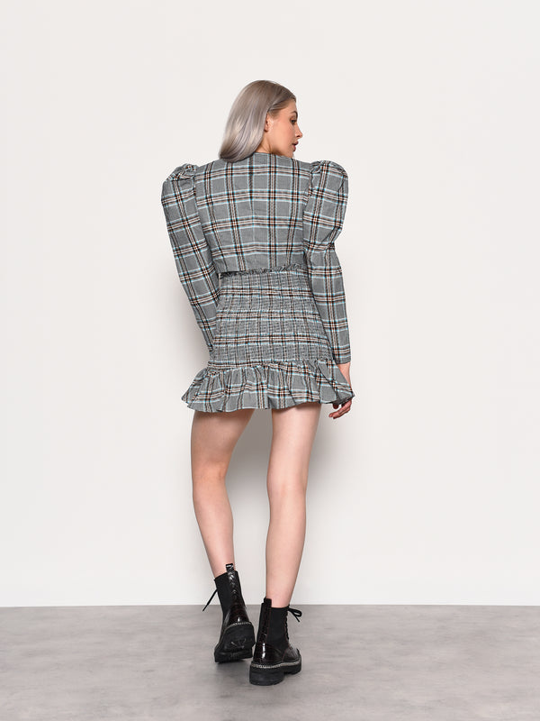 Mono Blue Brown Check Top