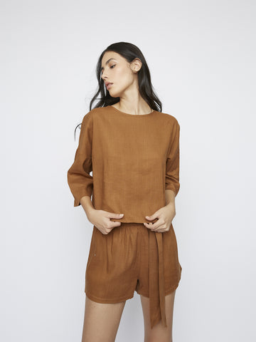 Brown Loose Fitted Top