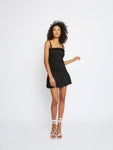 Black Shirred Frill Trim Mini Dress