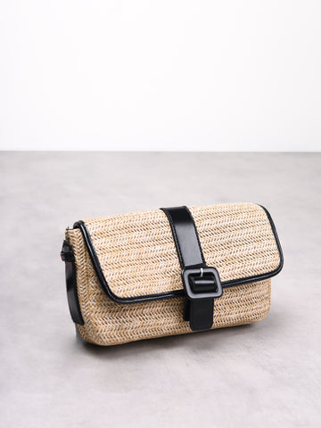 Natural Weave Baguette Shoulder Bag