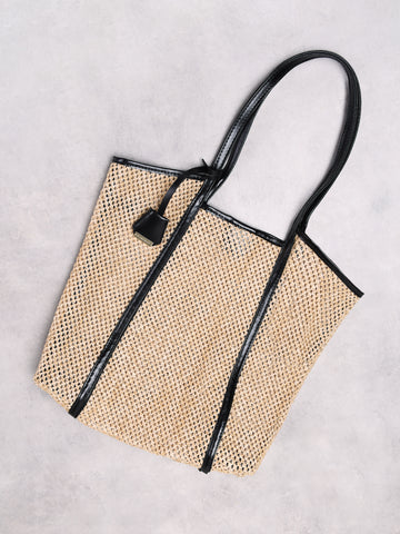 Natural Woven Leather Strap Bag