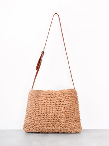 Natural Woven Slouchy Shoulder Bag