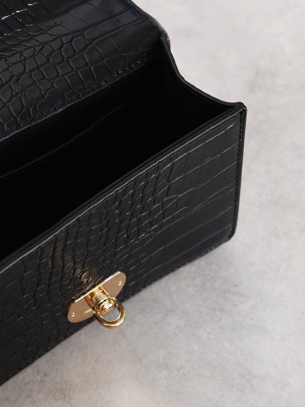 Black Croc Ruched Handle Box Bag