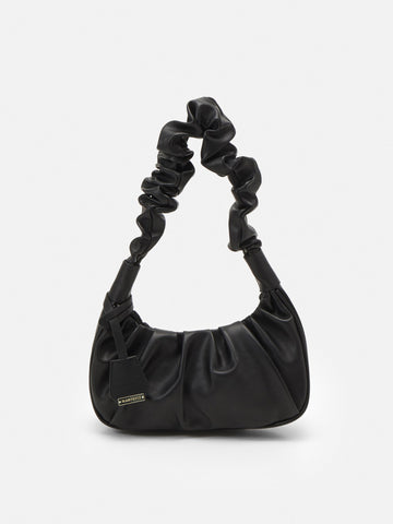 Black Ruched Handle Shoulder Bag