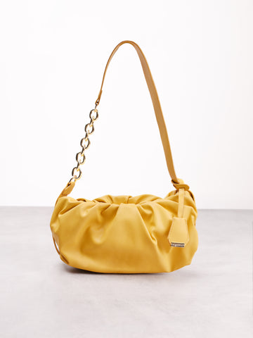Yellow Ruched Chain Strap Shoulder Bag