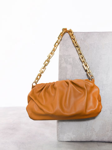Tan Slouchy Pillow Cross Body Bag