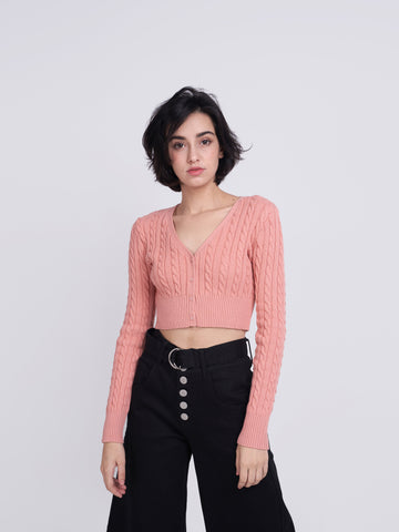 Dusty Peach Crop Cardigan