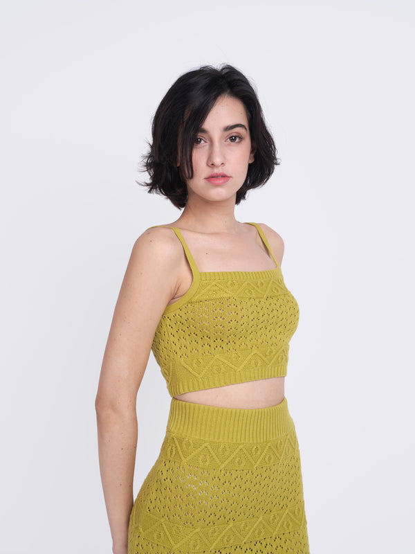 Olive Green Cropped Knitted Top