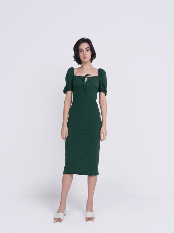 Forest Green Tie Front Midi Dress