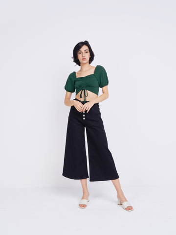Forest Green Ruched Tie Front Crop Top