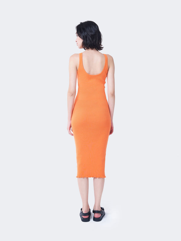 Orange Ribbed Midi Dress