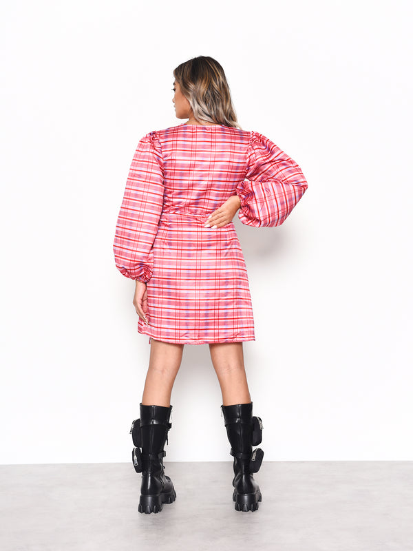 Red Pink Check Wrap Front Mini Dress