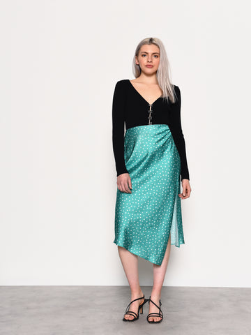 Green Ditsy Satin Midi Skirt