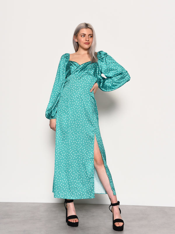 Green Ditsy Satin Side Split Midi Dress