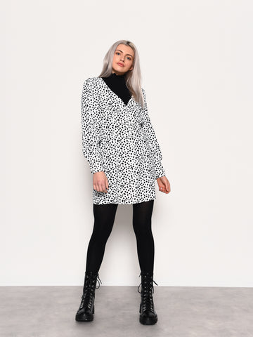 Dalmatian Print Long Sleeve Mini Dress