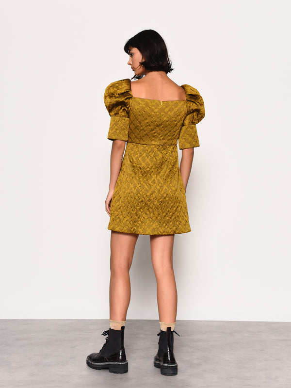 Gold Brocade Puff Sleeve Mini Dress
