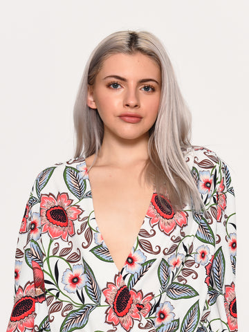 Large Cream Multi Floral Print Wrap Front Bodysuit