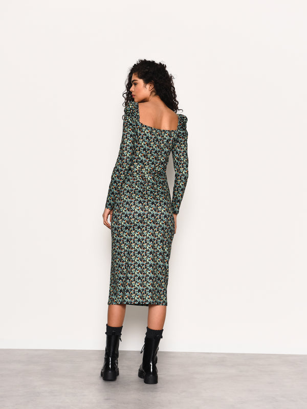 Green Abstract Ditsy Side Split Midi Dress