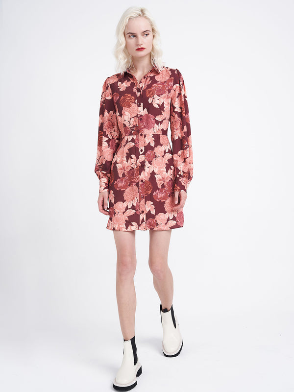 Red Floral Shirt Dress