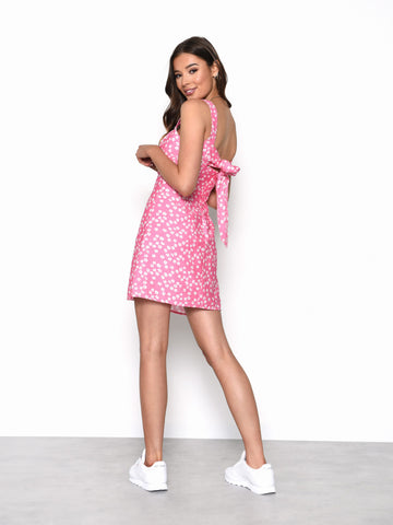 Candy Pink Flower Tie Back Mini Dress