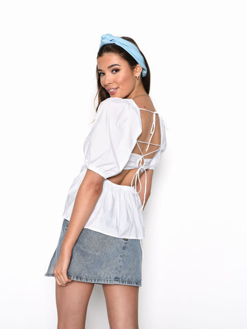 White Peplum Puff Sleeve Tie Back Top