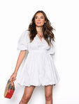 White Puff Sleeve Button Up Dress