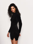 Black Rib Velvet Mini Dress