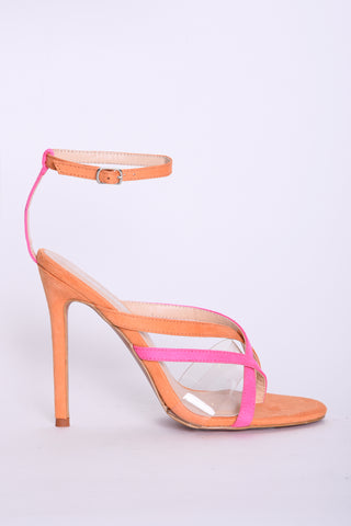 Orange and Pink Strappy Heels - Glamorous