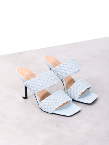 Light Blue Woven Strap Heeled Mules