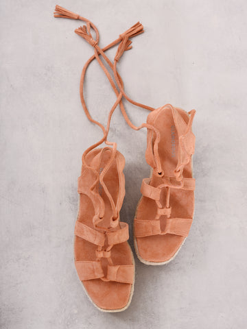 Tan Chunky Espadrille Flat Form Sandals