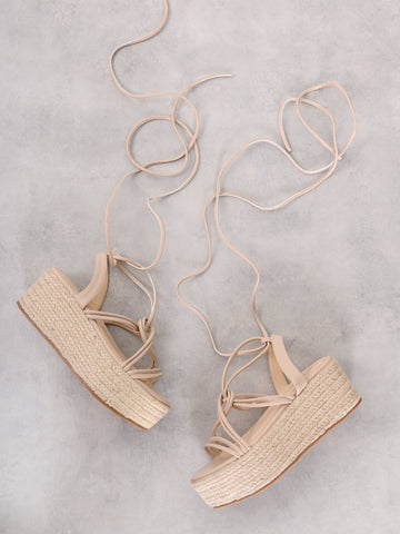 Blush Chunky Espadrille Flat Form Sandals