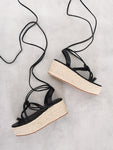 Black Lace Up Chunky Espadrille Flat Form Sandals
