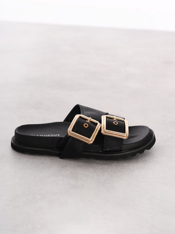 Black Gold Buckle Sandals