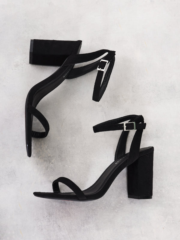 Black Barely There Square Toe Block Heels