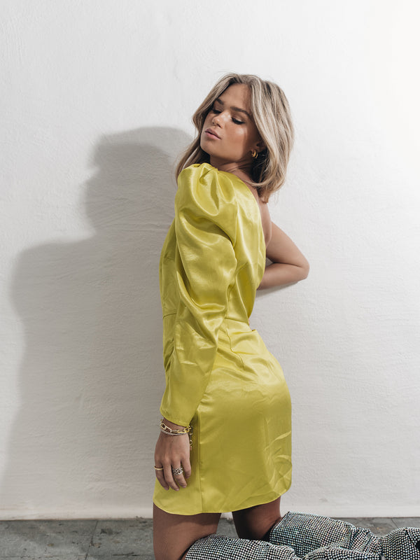 Lime Yellow Satin One Sleeve Mini Dress