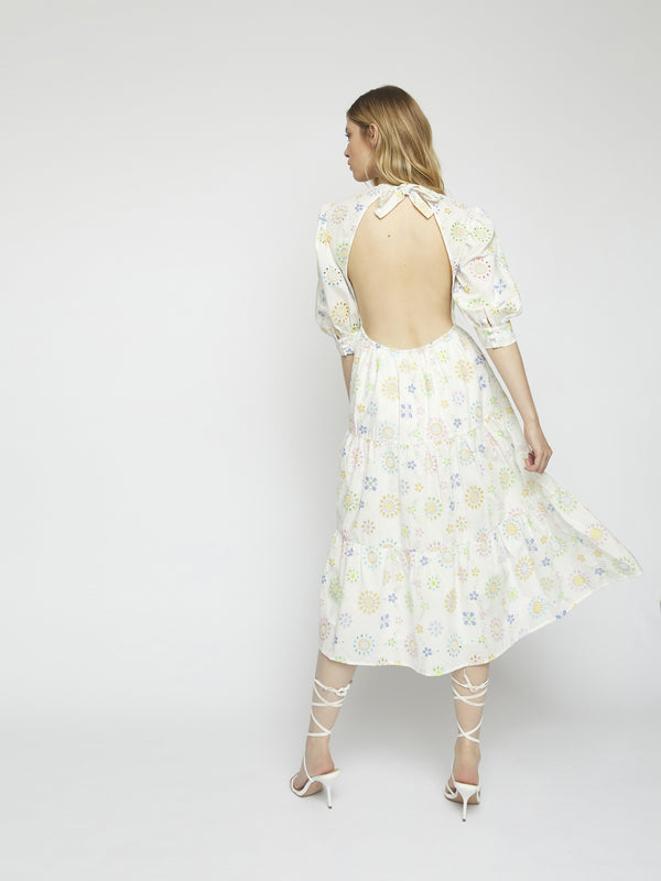 White Broderie Pastel Tiered Midi Dress